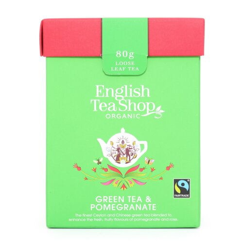 English Tea Shop Organic Green Tea Pomegranate Loose Leaf Tea 80g